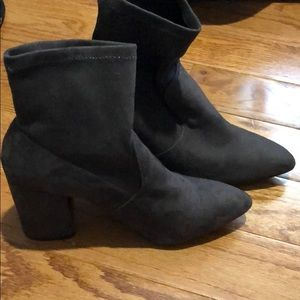 4 inch suede grayish booties